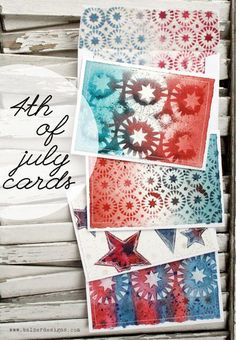 "4th of July cards with the Balzer Designs ""Stars & Circles"" stencil"