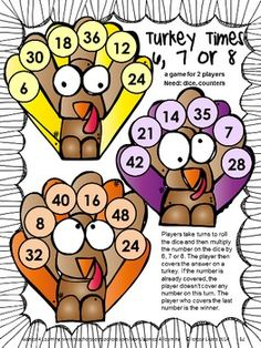 Cute multiplication game from Thanksgiving Math Games Third Grade by Games 4 Learning $