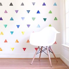 Small Rainbow Watercolor Triangles are a set of Mej Mej fabric wall decals from the Color Story children's decor collection. Bedroom Wall, Girls Bedroom, Bedroom Decor, Lego Bedroom, Childs Bedroom, Kid Bedrooms, Girl Rooms, Nursery Decor, Rainbow Bedroom