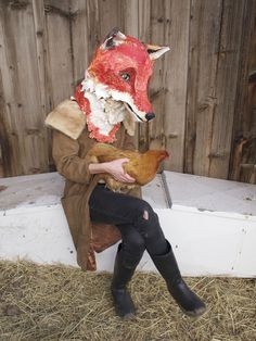 'Fox' (papier mache, wire, string, and paint - 2011) by Michelle Lassaline from Observations and Masks