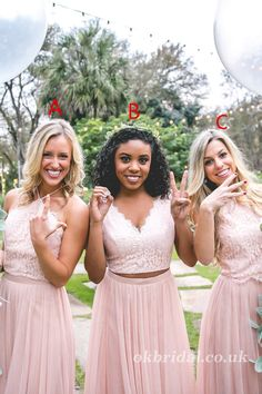 Mismatched Two Pieces Lace Top Bridesmaid Dress, Floor-Length Bridesmaid Dress, Two Piece Bridesmaid Dresses, Bridesmaid Separates, Wedding Dresses, Bridesmaids, Lace Tops, Dream Dress, Dress Making, Dress Lace, Wedding Decor