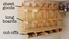 wood storage Clever Design for DIY Wall-Mount Lumber Rack Lumber Storage Rack, Diy Storage Rack, Plywood Storage, Lumber Rack, Diy Garage Storage, Wood Rack, Storage Ideas, Rack Shelf, Storage Cart