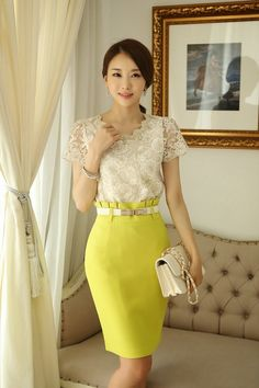 Casual Spring Work Outfits Ideas for Women - Asian Fashion, Love Fashion, Womens Fashion, Blouse And Skirt, Dress Skirt, Skirt Fashion, Fashion Outfits, Spring Work Outfits, Yellow Fashion