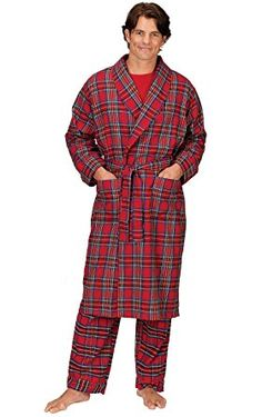 PajamaGram Men s Classic Plaid Flannel Robe Review Flannel Robe ecfb37fea