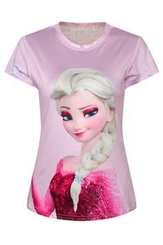 #Pink Womens Crew Neck #Frozen Elsa Printed #Cartoon T-shirt