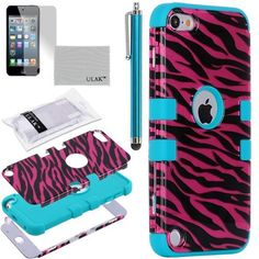 Pandamimi ULAK(TM) 3-Piece Hybrid Zebra Hard Case Cover and Blue Silicon Soft Inner Shell for Apple iPod Touch 5 5th Generation + Screen Protector + Stylus by ULAK, http://www.amazon.com/dp/B00D7YCJA0/ref=cm_sw_r_pi_dp_lquTrb0F5KXR2