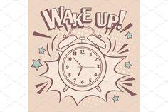 Vintage alarm wake up poster vector image on VectorStock Eps Vector, Vector File, Alarm Clock Design, Marketing Calendar, Social Media Marketing Business, Wake Up, Design Bundles, Lettering, Adobe Illustrator