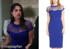 I'm a Soap Fan: Sam Morgan's Blue Dress with Sheer Neckline - General Hospital, Season 53, Episode 155, 11/05/15, Kelly Monaco, #GH Fashion, Worn on #GeneralHospital #MaggieLondon