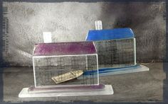 Dorota Morawska     Glass House With Cobalt     Glass House With Pink   2014 cold working process http://artglassandceramic.blogspot.com/