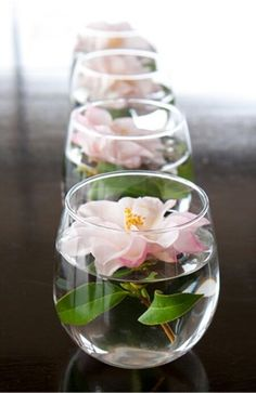 Beautiful flowers floating in glass