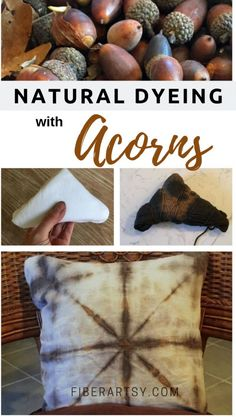Natural Dyeing How to Make Dye from Acorns. This natural dye works great on Cotton Fabric or Wool Yarn. Natural Dyeing How to Make Dye from Acorns. This natural dye works great on Cotton Fabric or Wool Yarn. Natural Dye Fabric, Natural Dyeing, Shibori Fabric, Dyeing Fabric, Dyeing Yarn, Yarn Crafts, Fabric Crafts, Beaded Crafts, Fabric Dyeing Techniques