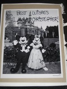 Did you know that if you send Mickey and Minnie Mouse an invitation to your wedding they'll send you back an autographed photo and a 'Just Married' button?    Also, if you send Cinderella and Prince Charming an invitation, you'll get an autographed congratulatory certificate.    Here are the addresses:  Micky & Minnie  The Walt Disney Company  500 South Buena Vista Street  Burbank, California 91521    Cinderella and Prince Charming  P.O. Box 1000  Lake Buena Vista, Florida 32830.   Amanda…