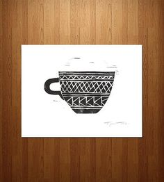 Geometric Coffee Cup Linocut Art Print | This art print features a playful coffee cup with multiple geo... | Posters