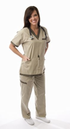 Add an attractive look with this sporty scrubs set to your scrub wardrobe. The top has a sleek V-neck cut with bold line design adorning it. Trendy Sporty Scrubs Set With 5 Pockets Total, 2 Piece Nursing Uniform Scrubs Set. Scrubs Outfit, Scrubs Uniform, Cute Medical Scrubs, Nurse Scrubs, Stylish Scrubs, Medical Uniforms, Nursing Uniforms, Medical Careers, Womens Scrubs