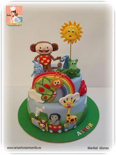 Baby Safari Birthday Cakes, Baby Boy 1st Birthday Party, Picnic Birthday, 2 Birthday Cake, Rainbow Birthday, Baby Party, Fondant Baby, Fondant Cakes, Baby Tv Cake