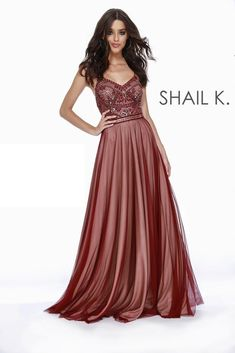6fef36d00a0 BOHO Thin Strapped Fit to Flare Embellished Bodice Burgundy Prom Dress 12211