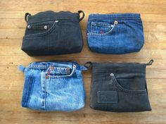 Denim Ideas, Upcycle, Pouch, Couture, Tote Bag, Purses, Sewing, Tees, Fabric