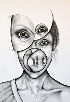 """Monochrome 1"" surreal portrait drawing by Andy Butler"