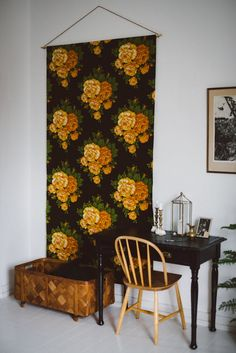 vintage floral fabric wall hanging DIY