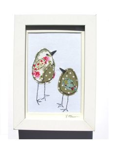 Items similar to Stitched picture - Embroidered picture - Mixed media picture - Bird picture - Fabric picture on Etsy