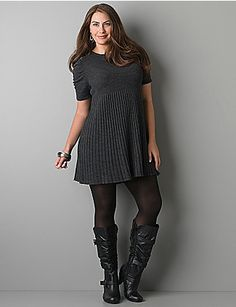 Ruched sleeve sweater dress