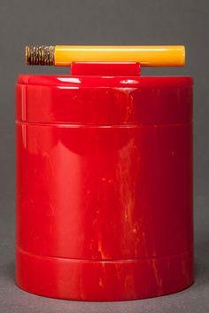 Catalin Bakelite Cigarette Box in Bright Red with Carved Cigarette