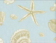 Coastal Seashell Curtain Panel Aqua Sea