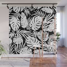 Urban Jungle Black Wall Mural by Heather Dutton | © Hang Tight Studio #wallmurals #surfacedesign
