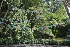 what could be a better ceremony background than miles of bunting!? http://su.pr/842IP0