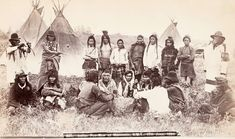 Assiniboine gathering at Moosomin, Northwest Territories, Canada. 1889. Photo by Frederick Steele.