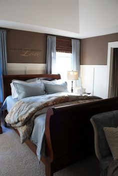 blue and brown master bedroom. This is what I want my bedroom to look like instead of the dorm room it resembles now.