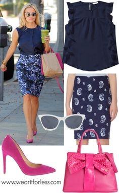 Reese Witherspoon in a printed skirt and sleeveless blouse in Los Angeles - get the look for less! www.wearitforless.com