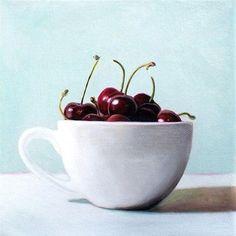 "Daily Paintworks - ""Cup of Cherries"" - Original Fine Art for Sale - © Lauren Pretorius"