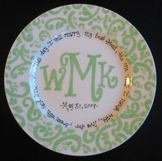 Handpainted Platter - Monogrammed Plate - filed this here so it wouldn't get lost in my crafts folder. What a great wedding or anniversary gift! :)