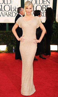 Heather Morris flaunted her dancer's body in a sleek neutral Lorena Sarbu gown (Golden Globe Awards 2011)