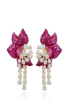Ruby Floral Earring by Farah Khan Fine Jewelry for Preorder on Moda Operandi