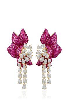 Ruby Floral Earring by Farah Khan Fine Jewelry for Preorder on Moda Operandi