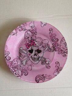 """Girly Girl Tattoo Style Skull-n-Crossbones - 7 1/2"""" Decoupaged Plate on Etsy, $10.00"""