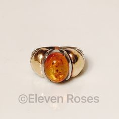18k Gold & Sterling Silver Amber Statement Ring Designer JL Large Amber Solitaire Statement Ring - 925 Sterling Silver & 750 18k Yellow Gold - Amber Measures Approx 9.5mm X 12mm X 7mm - Hallmarked; JL, 18k, 925 - US Size 7 Fine Jewelry Jewelry Rings