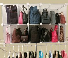 Keep your purses stored and organized in the hallway or closet shelving with this Park-A-Purse Organizer.
