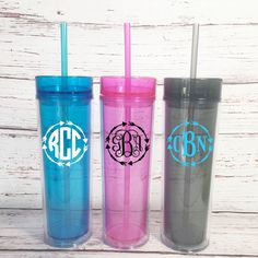 Monogrammed Skinny Tumblers - Personalized Tumblers - Monogrammed Gift - Girls Weekend Gifts - Arrow Monogrammed Tumbler - Bridesmaid Gifts by SimplyGracefulDesign on Etsy