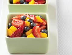 Fruit Salad with Vanilla-Apple Syrup    Vanilla-Apple Syrup        2 cups apple juice      2 2-inch strips lemon zest      ¼ vanilla bean    Fruit Salad        2 medium mangoes, peeled and diced      1 pint strawberries, quartered (about 2 cups)      1 pint blueberries (about 2 cups)
