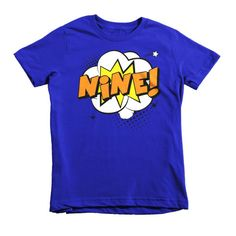 Kids Nine! 9th Birthday Boy Girl Superhero Short Sleeve