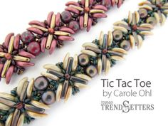 This digital tutorial will guide you through making the component pieces and putting them together with 7mm cabochons. Uses Czechmate 7mm two-hole cabochons, CzechMate Crescents, CzechMate Beams, and Toho Demi Rounds.  For a 7 bracelet you will need: 14 CzechMate 7mm 2-hole Cabochons 32 CzechMate 3-hole Beams 64 CzechMate Crescents 40 11/0 seed beads 100 size 8 Toho Demi Rounds 8 size 8/0 seed bead clasp One G thread or 6 lb Fireline