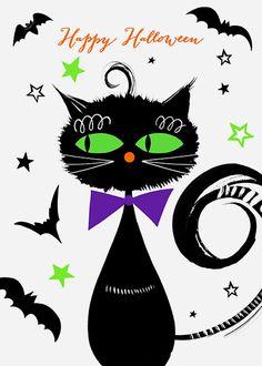 Margaret Berg Art: Halloween Cat with a Bow Tie