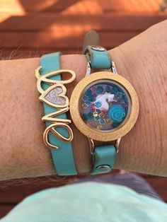 I just LOVE this look! The locket and the slider go so well together! #Unicorn #WrapBracelet #BlueJewelry #LoveJewelry #GoldJewelry