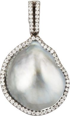 Eli Jewels Gray South Sea Pearl and Diamond Sapphire Necklace, Sapphire Diamond, Diamond Gemstone, Gemstone Necklace, Pearl Pendant, Cross Pendant, Diamond Pendant, South Sea Pearls, Affordable Jewelry