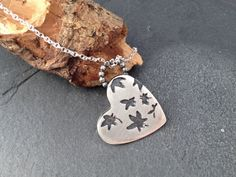Sterling silver handmade heart necklace by silvermeadows on Etsy, £65.00