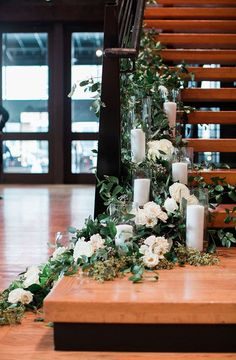 Candles and Greenery Envelop The Bell Tower Staircase - Wedding Time Wedding Staircase Decoration, Wedding Stairs, Home Wedding Decorations, Wedding Entrance, Wedding Ideas, Floral Wedding, Rustic Wedding, Wedding Flowers, Wedding Greenery