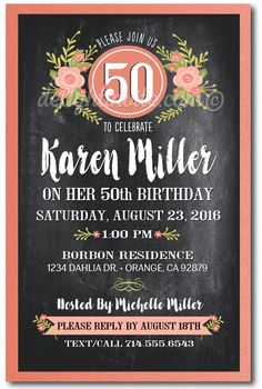 Vintage Floral Chalkboard 50th Birthday Invitations for Women, expertly printed on metallic paper and artfully hand-mounted on gorgeous peach 120# metallic shimmer card stock. Perfect for your upcoming vintage inspired 50th birthday celebration!